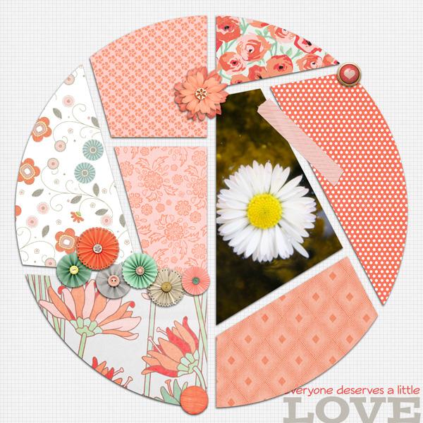 mosaiques template simplette page leaugoscrap kit collab. Free Love par Pixel Company