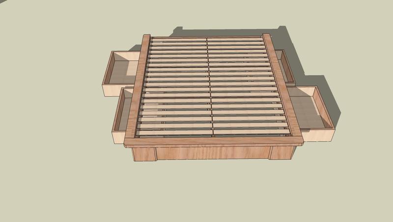 fabriquer un cadre de lit avec rangement - inspiration du blog