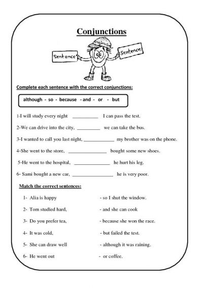 Coordinating conjunction worksheets 4th grade
